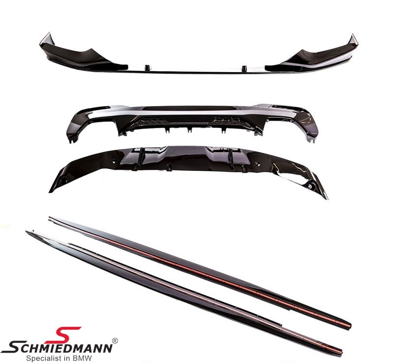 Aero kit - Hockenheim - Gloss Black - front+side+rear bumper attachments, to be installed on the original bumpers